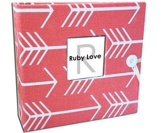 Coral Arrows Silhouette Album | Ruby Love Modern Baby Memory Book
