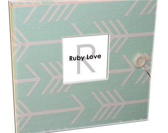 BABY BOOK | Mint Arrows Silhouette - Ruby Love Baby Memory Book