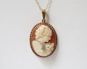 Victorian 14k Gold and Diamond Cameo Pendant