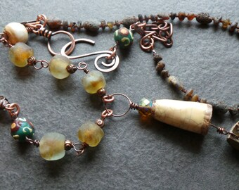 Tribal Rustic Organic Long Ammonite Pendant Necklace, Glass Copper Naga Shell and Raw Amber and Ceramic Primitive Necklace