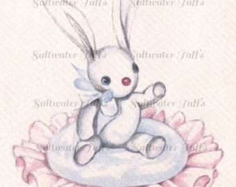 Baby Bunny Vintage Image Digital Download  pink blue 1940's clipart little sweet rabbit  adorable easter stuffed bunny toy nursery
