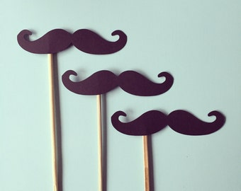 2 Dozen Mustache Photo Prop Sticks