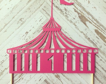 Circus Tent Cake Topper- first birthday, carnival, circus tent, party supplies, baby shower