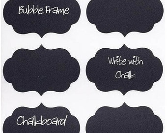 On SALE- 15 Chalk Labels® Large Chalkboard Labels Bubble Frame, Chalkboard Stickers, Organize your Home, Personalize your Party - 4 x 3 inch