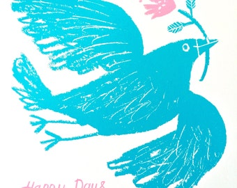 Happy Days, Turquoise Bird, original hand pulled screen print