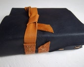 navy blue leather art journal, mixed-media paper, leather plein-air sketchbook