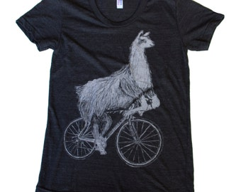 Llama on a Bicycle - Womens T Shirt, Ladies Tee, Tri Blend Tee, Handmade graphic tee, sizes s-xL