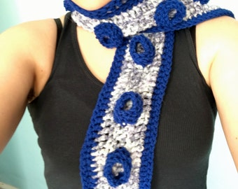 Tentacle Scarf, Crochet, Blue, White, and Grey