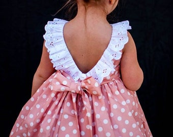 Girl peach pink polka dot birthday dress wedding dress eyelet sateen