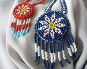 American Indian Beaded Necklaces Fringed Pendant Souvenir Glass Seed Beads 1970s