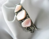 Cuff Bracelet Silver Pink Mother of Pearl Native American Unsigned Vintage 1970s Small Size