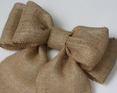 Burlap Pew Bows (4) Natural Burlap Large Double Bow Set Rustic Country Chic Handmade Wedding Decor Chair Bow