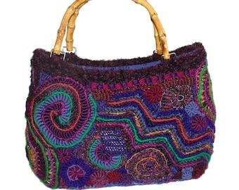 Freeform Crochet Handbag OOAK Women's Freeform wearable art