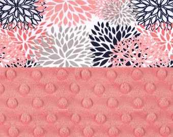 Minky Baby Blanket Girl, Navy Gray Coral Blooms Flowers Personalized Baby Blanket - Nursery Decor Girl