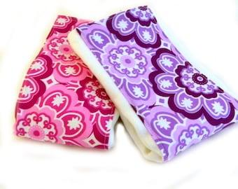 Flower Girl Burp Cloths, Pink Purple set of 2 Diaper Burp Clothes