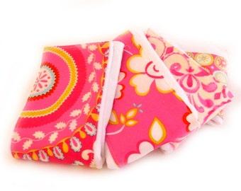 Girl Burp Cloths -Flower Geometric- Set of 4 -Pink Yellow Blue