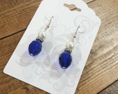Cobalt Royal Blue Crystal and Pearl Earrings