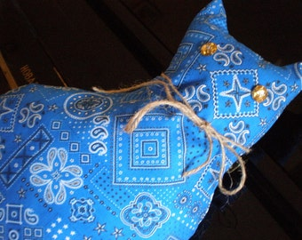 Blue Bandana  Cat stuffed Soft Toy.Vintage Pattern 1932. Billy Blue cat pillow
