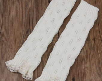 Ready to be shipped today - Trendy Women's Ivory Knit Button Lace Trim Leaf Leg Warmer- boot socks - Women Leg Warmers - Ivory Leg Warmers