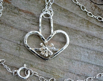 Sterling silver heart charm necklace pendant little daisy necklace unusual unique gift romantic botanical nature jewelry artisan handmade