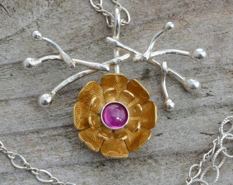Gold flower necklace pendant, lab pink ruby necklace, sterling silver branch necklace, contemporary modern botanical, nature jewelry, floral