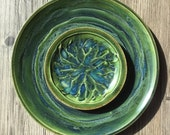 Set of  2 Green Plates Gift Set Serving Side Plates In Stock Ready to Ship