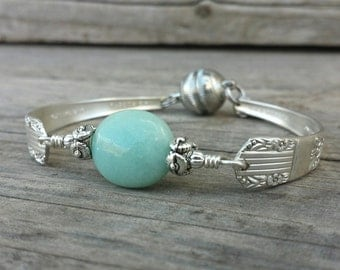 Gorgeous Antique Spoon Bracelet With Amazonite
