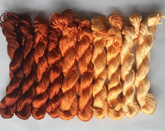 10pcs untwisted natural mulberry silk floss hand embroidery threads AMBER