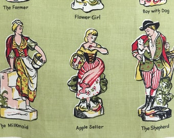 Vintage Tea Towel Linen English Ceramic Figurines