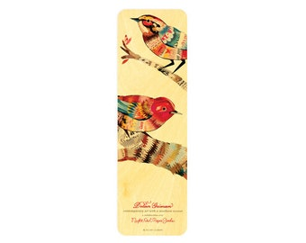 Dolan Warblers Wood Bookmark - A Collaboration with Mixed Media Artist Dolan Geiman - Real Birch Wood Bookmark - WM2127