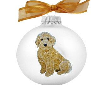 Goldendoodle Labradoodle Puppy Dog Hand Painted Christmas Ornament - Can Be Personalized with Name