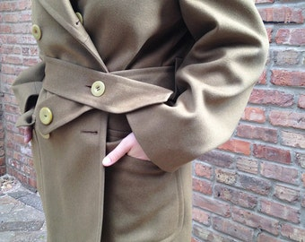 Olive Green Jacket. Vintage Military Army Jacket Women Men. Wool Coat Green. Double Breasted Jacket. Vintage Winter Coat.