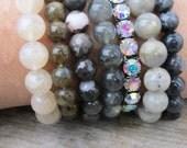 RESERVED Grey Stretch Bracelet Set, Autumn Shades stretch bracelet set FELICIA