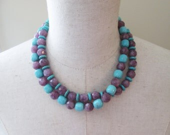 Turquoise Amethyst Beaded Double Strand Necklace