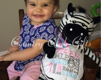 Personalized baby gift, birth announcement, best baby gift ever, plush, Zebra,subway art, personalized zebra ,Embroider buddy