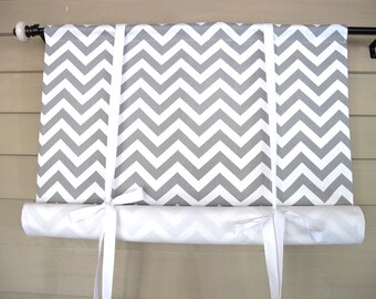 Gray White Chevron 72 Inch Long Swag Stage Coach Blind Swedish Roll Up Shade Tie Up Curtain Swag Balloon