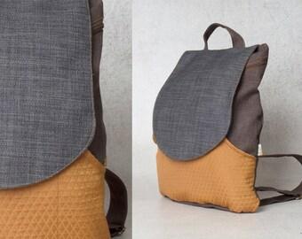 Canvas Laptop backpack - Black & Orange, backpacks for girls and women, canvas backpack, cool backpacks, school backpacks, girls backpacks
