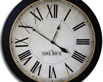 Large Wall Clock 24in CAMBRIDGE ROMAN Big Gallery Antique Style Family Heirloom FREE Inscription