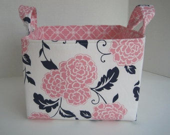 Ex-Large Pink/Navy/White Floral Fabric Organizer Basket with  Divider