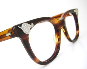 Vintage Horn Rim Cat Eye Eyeglasses Frames American Optical