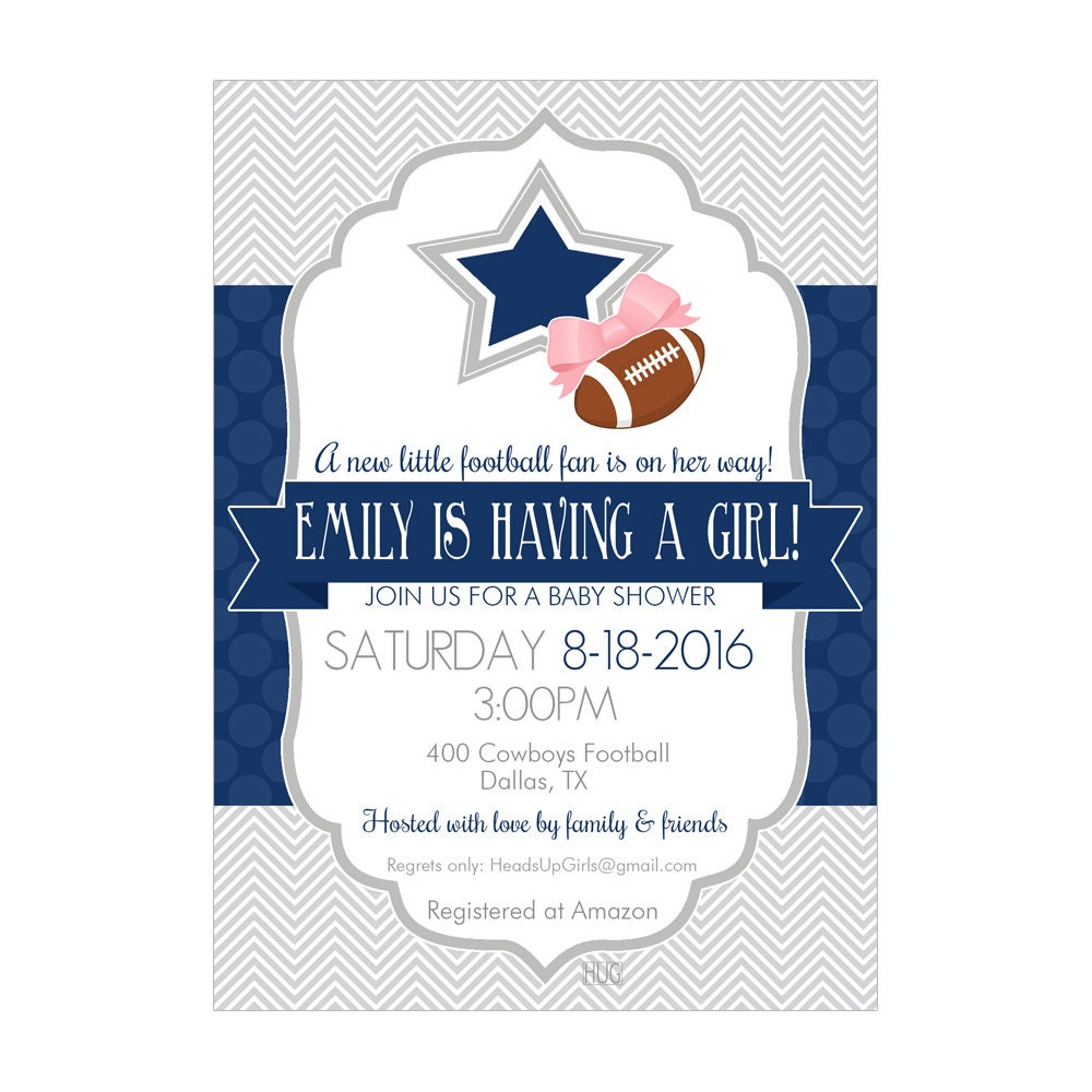 Personalized Dallas Texas Cowboys Football Baby Shower Invitations And  Envelopes One Dozen Printed For Boys Or