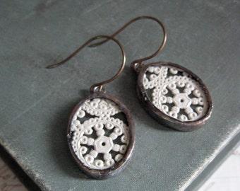 Vintage Paper Lace Repurposed Earrings