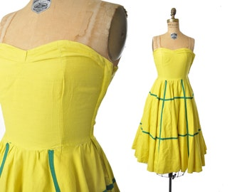 vintage 50s dress / chartreuse 50s sundress / 1950s dress / sweetheart dress .. AS IS