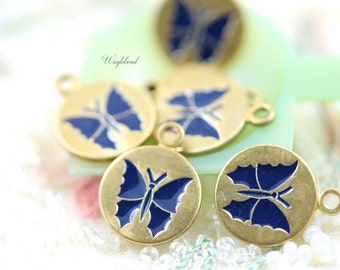Vintage Style Butterfly Disc Charms Pendants Navy Blue - 4