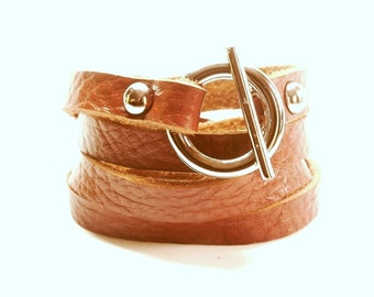 Whisky Color Rusic Leather Bracelet Wrap Bracelet Leather Cuff with Toggle Clasp