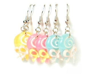 Kawaii Candy Earrings Lollipop Pastel Jewelry Fairy Kei Sweet Lolita Earrings Dangle Drop Earrings Bow Sweets Candy Jewelry