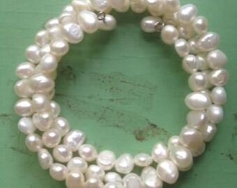 White Freshwater Pearl 3 x Wrap Bracelet