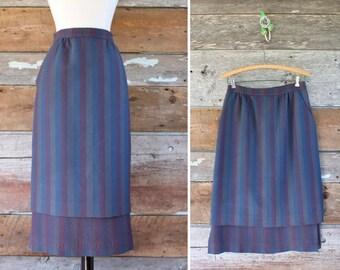 "woven wool skirt by Madawaska Weavers / 1980s wool skirt with pockets / waist 28"""