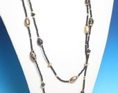 Boho Wooden Black Bead Necklace Gold Painted Long Length Vintage