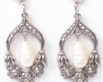 CIJ Sale Faux Pearl Dangle Earrings Marcasites Rhinestones Silver Tone Posts Vintage